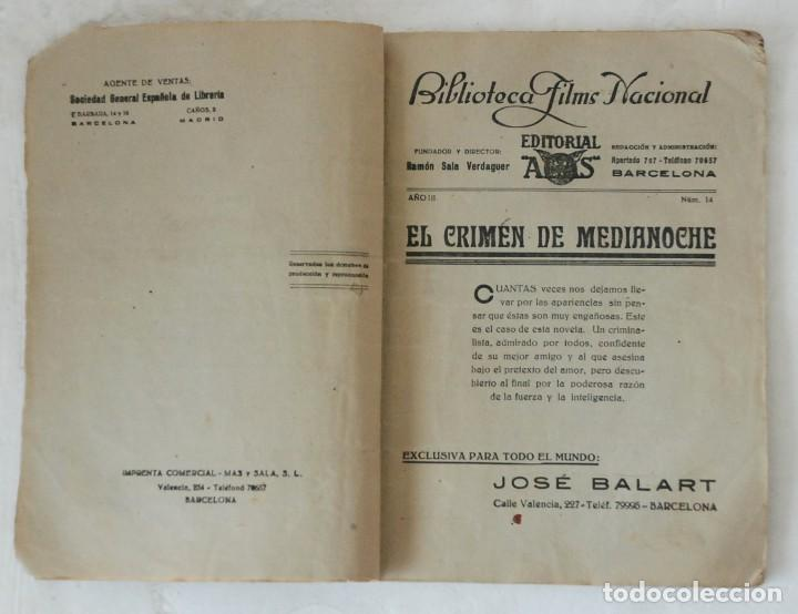 Cine: EL CRIMEN DE MEDIANOCHE - BIBLIOTECA FILMS NACIONAL AÑO III Nº 14. EDITORIAL ALAS BARCELONA - Foto 2 - 132520414