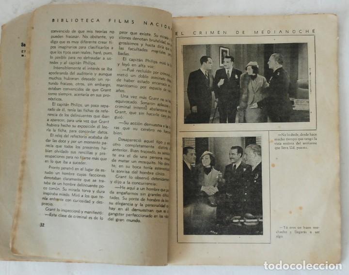 Cine: EL CRIMEN DE MEDIANOCHE - BIBLIOTECA FILMS NACIONAL AÑO III Nº 14. EDITORIAL ALAS BARCELONA - Foto 3 - 132520414