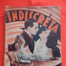 Cine: INDISCRETA, NOVELA, EDIC. BIBLIOTECA FILMS, GLORIA SWAHSON,70 PÁGINAS. Lote 132923638