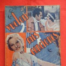 Cine: VUELAN MIS CANCIONES, NOVELA, EDIC. BIBLIOTECA FILMS, MARTHA EGGERTH, 70 PÁGINAS.. Lote 132924278