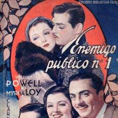Cine: CLARK GABLE / MYRNA LOY : ENEMIGO PÚBLICO Nº 1 (BIBLIOTECA FILMS). Lote 138950690