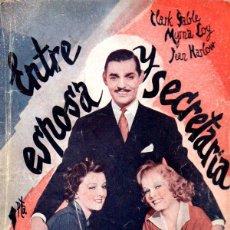 Cine: CLARK GABLE / MYRNA LOY / JEAN HARLOW : ENTRE ESPOSA Y SECRETARIA (BISTAGNE, 1936). Lote 138950958