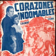 Cine: CLAUDETTE COLBERT / HENRY FONDA : CORAZONES INDOMABLES (BISTAGNE) ARGUMENTO Y FOTOS DE LA PELÍCULA. Lote 141178074