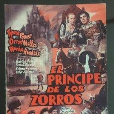 Cine: NOVELA , GUION CINEMATOGRAFICO , EL PRINCIPE DE LOS ZORROS , 72 PAG SIN ABRIR , ORIGINAL. Lote 143043810