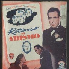 Cine: RETORNO AL ABISMO - NOVELA SEMANAL CINEMATOGRAFICA. EDICIONES BISTAGNE. . Lote 143048350