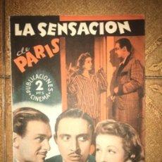 Cine: ANTIGUA NOVELA LA SENSACIÓN DE PARIS CINEMA . Lote 143462994