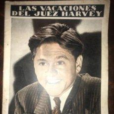 Cine: ANTIGUA NOVELA CINE LAS VACACIONES DEL JUEZ HARVEY MICKEY ROONEY. Lote 143492694