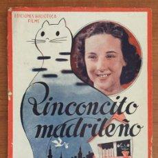 Cinema: RINCONCITO MADRILEÑO. EDICIONES BIBLIOTECA FILMS. EDITORIAL ALAS.. Lote 146731082