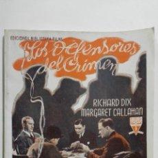 Cine: LOS DEFENSORES DEL CRIMEN - EDICIONES BIBLIOTECA FILMS, Nº 280, EDITORIAL ALAS. Lote 146757254