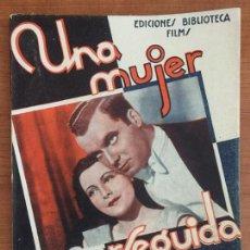 Cine: UNA MUJER PERSEGUIDA. EDICIONES BIBLIOTECA FILMS. EDITORIAL ALAS.. Lote 146769222