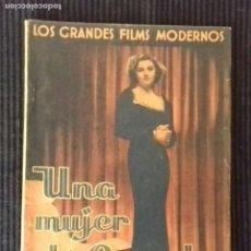 Cine: UNA MUJER AFORTUNADA.EDICIONES CINEMATOGRAFICAS.. Lote 147250266