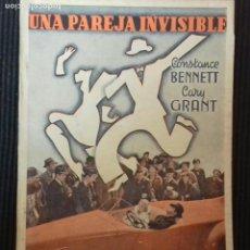 Cine: UNA PAREJA INVISIBLE. EDICIONES BIBLIOTECA FILMS.. Lote 147441442