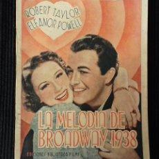 Cine: LA MELODIA DE BROADWAY 1938. EDICIONES BIBLIOTECA FILMS.. Lote 147930622