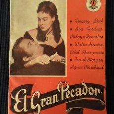Cine: EL GRAN PECADOR. GREGORY PECK, AVA GADNER. EDICIONES BISTAGNE.. Lote 147933850