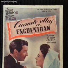 Cine: CUANDO ELLAS SE ENCUENTRAN. EDICIONES BIBLIOTECA FILMS.. Lote 148701534
