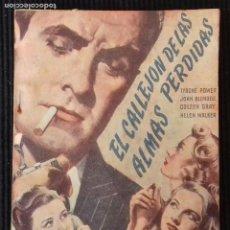 Cine: EL CALLEJON DE LAS ALMAS PERDIDAS. TYRONE POWER. EDICIONES BISTAGNE.. Lote 148703242