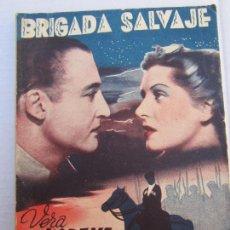 Cine: COLECCION CINEMA , N. 62 , FEBRERO 1942 , CINEMEDITERRANEO , PRESENTA BRIGADA SALVAJE , MARISAL. Lote 151672586