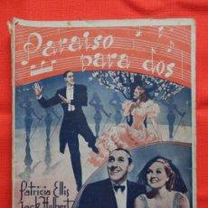 Cine: PARAISO PARA DOS, NOVELA EDICIONES RIALTO, PATRICIA ELLIS JACK HULBERT, 60 PÁG.. Lote 155057386