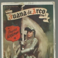 Cine: JUANA DE ARCO. INGRID BERGMAN, JOSE FERRER, VÍCTOR FLEMING. 1948. ED. BIBLIOTECA FILMS. ATLAS. Lote 175565203