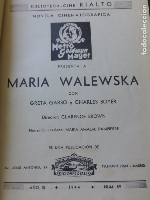 Cine: PELICULA 1944 NAPOLEON MARIA WALEWSKA GRETA GARBO CHARLES BOYER NOVELA CON FOTOS BIBLIOTECA RIALTO - Foto 2 - 175868064