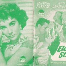Cine: 9 GUÍAS DE CINE DANESAS DE ELIZABETH TAYLOR CON ARGUMENTO Y FOTOS. Lote 180314968