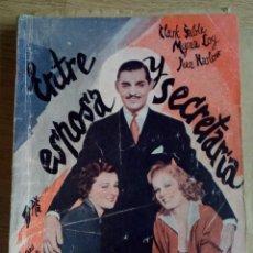 Cine: ENTRE ESPOSA Y SECRETARIA CLARK SABLE, MYRNA LOY, JEAN HARLOW - LA NOVELA SEMANAL CINEMATOGRAFICA . Lote 181731503