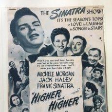 Cine: FRANK SINATRA - HIGHER AND HIGHER - RECORTE ORIGINAL DE PRENSA ESTADOUNIDENSE DE LA ÉPOCA. Lote 192725913