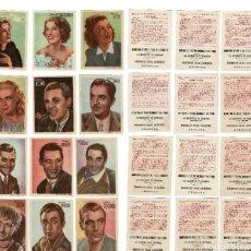 Cinema: COLECCIÓN COMPLETA ARTISTAS DE CINE 12 CROMOS. Lote 195588325