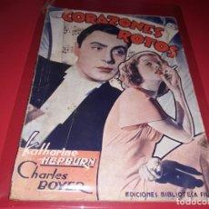 Cine: CORAZONES ROTOS CON KATHARINE HEPBURN. ARGUMENTO NOVELADO DE PELICULA CON FOTOGRAFIAS.1939. Lote 197899427