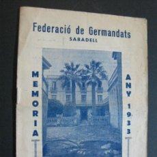 Cine: SABADELL-FEDERACIO GERMANDATS-MEMORIA ANY 1933-VER FOTOS-(V-19.704). Lote 202271758