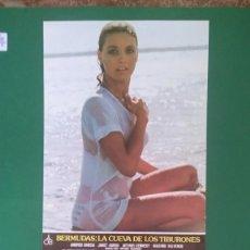 Cine: 2 FOTOCROMOS BERMUDAS LA CUEVA DE LOS TIBURONES 1978 - JANET AGREN, ARTHUR KENNEDY PERFECTO ESTADO. Lote 203011645