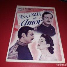 Cine: UNA CARTA DE AMOR CON JORGE NEGRETE .ARGUMENTO NOVELADO CON MUCHAS FOTOGRAFIAS. 1943. Lote 217733512