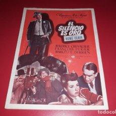 Cine: EL SILENCIO ES ORO CON MAURICE CHEVALIER .ARGUMENTO NOVELADO CON MUCHAS FOTOGRAFIAS. 1947. Lote 217736103