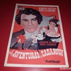 Cine: LAS AVENTURAS DE CASANOVA.ARGUMENTO NOVELADO CON MUCHAS FOTOGRAFIAS. 1947. Lote 217737093