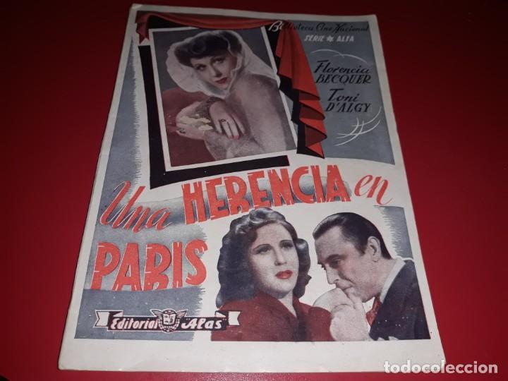 UNA HERENCIA EN PARÍS . ARGUMENTO NOVELADO CON MUCHAS FOTOGRAFIAS. 1944 (Cine - Foto-Films y Cine-Novelas)