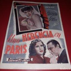 Cine: UNA HERENCIA EN PARÍS . ARGUMENTO NOVELADO CON MUCHAS FOTOGRAFIAS. 1944. Lote 217739763