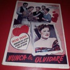 Cine: NUNCA LA OLVIDARE CON IRENE DUNNE. ARGUMENTO NOVELADO PELICULA CON MUCHAS FOTOGRAFIAS 1948. Lote 217816657