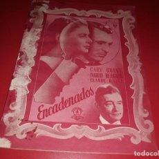 Cine: ENCADENADOS CON GARY GRANT Y INGRID BERGMAN. ARGUMENTO NOVELADO PELICULA CON MUCHAS FOTOGRAFIAS 1946. Lote 217817573