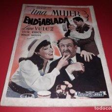 Cine: UNA MUJER ENDIABLADA CON LUPE VELEZ. ARGUMENTO NOVELADO PELICULA CON MUCHAS FOTOGRAFIAS 1939. Lote 217818027