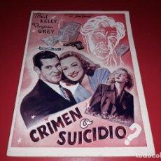 Cine: CRIMEN O SUICIDIO. ARGUMENTO NOVELADO PELICULA CON MUCHAS FOTOGRAFIAS 1947. Lote 217818885