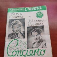 Cine: PUBLICACIONES CINEMA NÚMERO 46 CONCIERTO EN LA CORTE MARTA EGGERTH JOHANNES HEESTERS. Lote 218795408