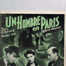 Cine: 1943 UN HOMBRE EN PARÍS VALERIE HOBSON BARRY K. BARNES ALASTAIR SIM ED.RIALTO COLECCIÓN CINE Nº 23. Lote 222084900