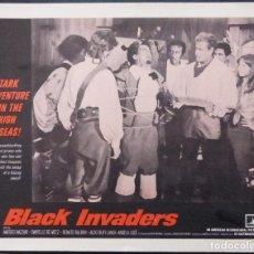 Cine: TARJETA DE VESTÍBULO DE BLACK INVADERS, AÑO 1962, AMEDEO NAZZARI, DANIELLE DE METZ -3. Lote 222832623