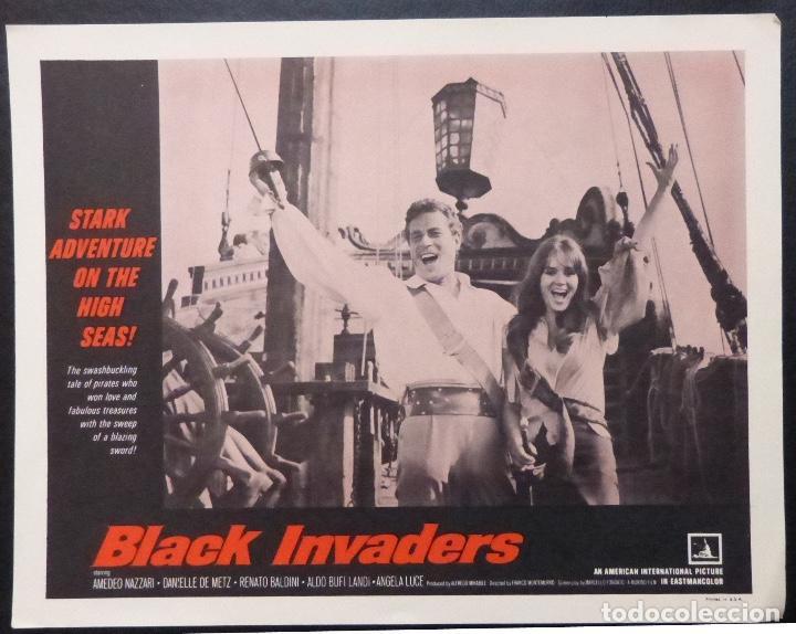 TARJETA DE VESTÍBULO DE BLACK INVADERS ORIG, AÑO 1962, AMEDEO NAZZARI, DANIELLE DE METZ -7 (Cine - Foto-Films y Cine-Novelas)