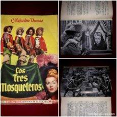 Cine: LOS TRES MOSQUETEROS NOVELA CON FOTOGRAFÍAS DE LA PELÍCULA EDICIONES AYMA 1949. Lote 247746765