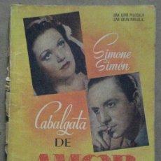 Cine: ABH99 CABALGATA DE AMOR SIMONE SIMON NOVELA CON FOTOS EDICIONES BISTAGNE. Lote 287327433