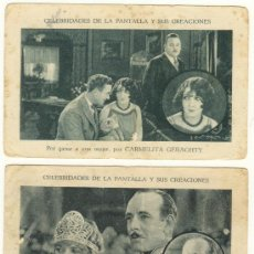 Cine: DOS CROMOS PUBLICITARIOS CELEBRIDADES DE LA PANTALLA Y SUS CREACIONES MUY ANTIGUOS. Lote 26076613