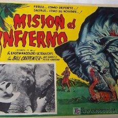 Cine: MISION AL INFIERNO - AFRICA - SELVA - BILL CARPENTER - ELEFANTE - ORIGINAL LOBBY CARD MEXICANO. Lote 13691883