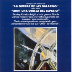 Cine: '2001 - UNA ODISEA DEL ESPACIO', DE STANLEY KUBRICK. FICHA TAMAÑO POSTAL.. Lote 8603003