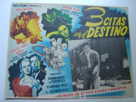 3 CITAS CON EL DESTINO - ORIGINAL LOBBY CARD MEXICANO - JORGE MISTRAL, AMPARO RIVELLES (Cine - Fotos, Fotocromos y Postales de Películas)